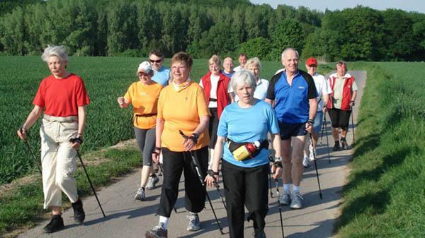 Группа пожилых людей занимаются скандинавской ходьбой